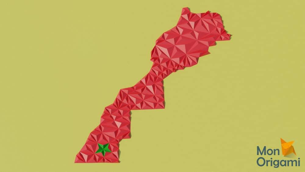 Modèle origami 3D carte du Maroc
