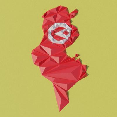 Modèle origami 3D carte de Tunisie