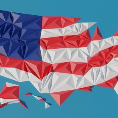 Modèle origami 3D carte des Etats-Unis