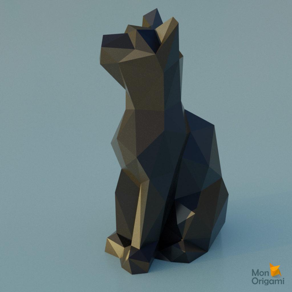Modele papercraft de chat noir