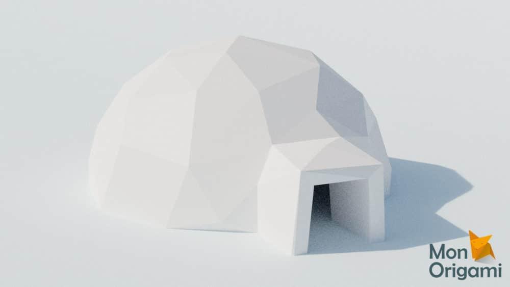 Modèle origami 3D igloo