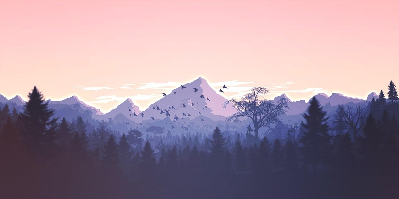 Paysage de montagnes avec forêt et oiseaux en vol