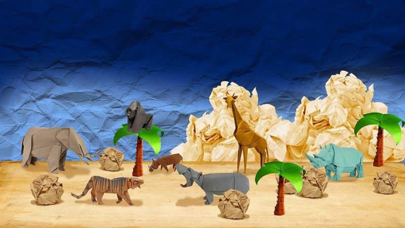Paysage savane origami avec animaux